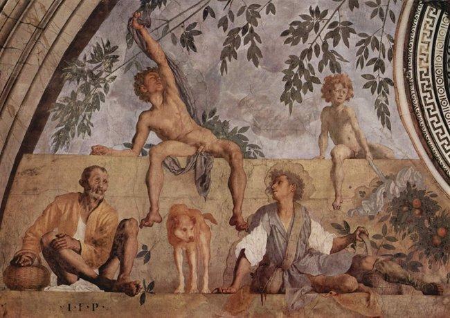 Lunetta con Vertumno e Pomona, dettaglio.Villa medicea, Poggio a Caiano.