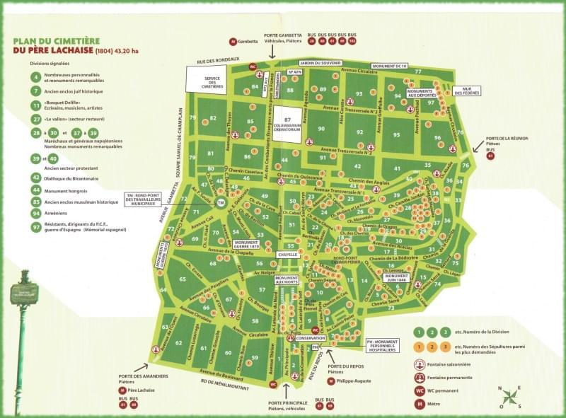 mappa cimitero père lachaise