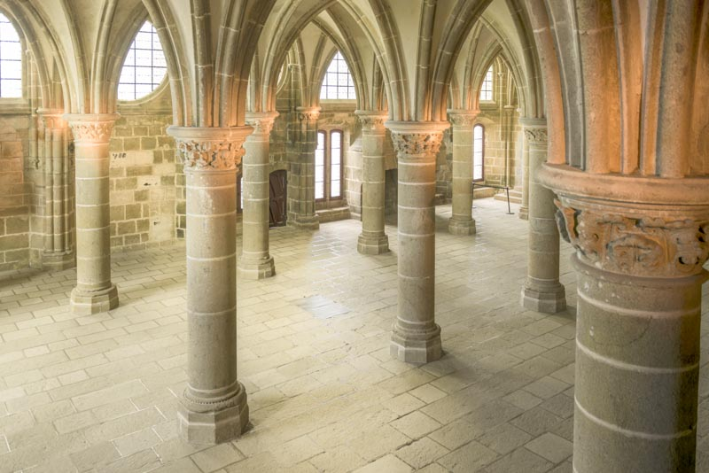 Inside the abbey of mont saint michel