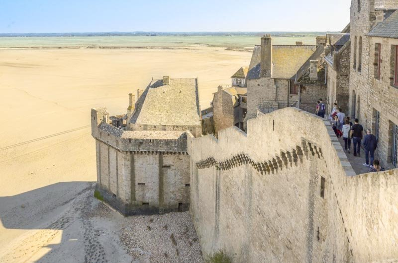 view of the walls of mont saint michel