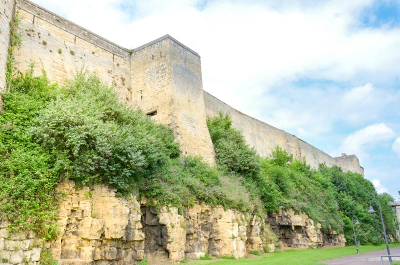 the walls of the castle of William the conqueror in Caen